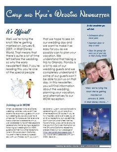 The newsletter we sent out to our guests to tell them about our wedding plans. I spent a lot of time on it, but if I were to do plan our wedding again today I probably would have just created a website and sent out the link. The cost of printing and mailing the newsletters to everyone probably wasn't worth it.