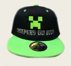 Minecraft creeper hat cap snapback neon green creepers go boom