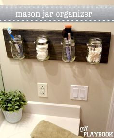 Mason Jar Bathroom Organizer Stained Wood or cover with burlap for a rustic or country look - sublime decor