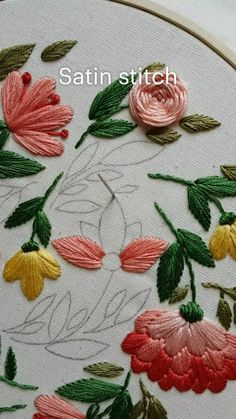 Hand Embroidery Patterns Flowers, Hand Embroidery Videos, Embroidery Stitches Tutorial, Embroidery Flowers Pattern, Hand Embroidery Designs, Embroidery Kits, Beginner Embroidery, Embroidered Flowers, Creative Embroidery