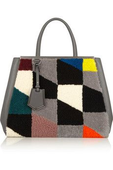 Fendi 2Jours leather and printed shearling tote | NET-A-PORTER