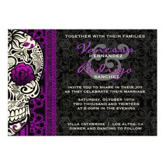 fancy lace sugar skull day of the dead invite - Skull Wedding Invitations