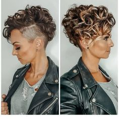 Curly Pixie Haircuts, Haircuts For Curly Hair, Curly Hair Cuts, Curly Hair Shaved Side, Shaved Side Haircut, Curly Mohawk Hairstyles, Undercut Curly Hair, Short Shaved Hairstyles, Short Hair Shaved Sides