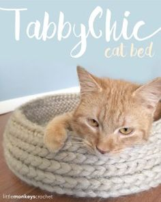 Tabby Chic Cat Bed Crochet Pattern | Free Cat Bed Crochet Pattern by Little Monkeys Crochet and like OMG! get some yourself some pawtastic adorable cat apparel!