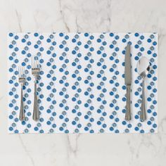 Merry Christmas Blue Baubles Pattern Elegant Placemat - elegant gifts gift ideas custom presents