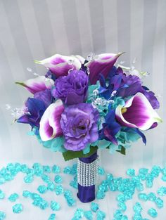 Kayla's Bridal Bouquet with Purple by ArtisticFloralDesign on Etsy, $150.00
