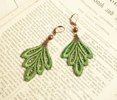 lace earrings PHILLIDA green by tinaevarenee on Etsy, $22.00