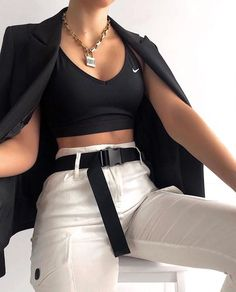 lack x white, All time favorite ❕// Gorgeous in our belted white cargo pants 😍😍😍 🔎 Pant Cute Comfy Outfits, Sporty Outfits, Mode Outfits, Retro Outfits, Trendy Outfits, Girl Outfits, Look Fashion, Teen Fashion, Fashion Outfits