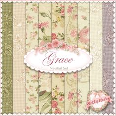 "Mary Rose Grace  9 FQ Set - Cream by Quilt Gate Fabrics: Mary Rose Grace is a shabby style collection from Quilt Gate Fabrics.  100% cotton.  This set contains 9 fat quarters, each measuring approximately 18"" x 21""."