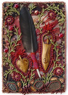 """Respect"" by Robin Atkins. Bead Journal Project for October Bead embroidery, visual journaling with beads, one page per month for one year. Appears in the book ""Heart to Hands Bead Embroidery"" by Atkins. Kunstjournal Inspiration, Art Journal Inspiration, Art Journaling, Art Du Fil, Fabric Journals, Textiles, Handmade Books, Handmade Art, Journal Covers"
