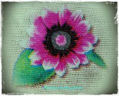 Flores pintada en tela