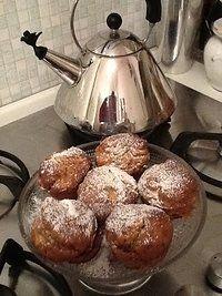 Muffin di farina di castagne con mele e uvetta (senza uova, senza lattosio)