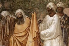 'szenen von dem leben von der heilige franziskus: 6. st francis vor dem `sultan` (detail', freskos von Giotto Di Bondone (1266-1337, Italy)