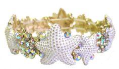 Heirloom Finds Starfish Bracelet of White Enamel Aurora Borealis Crystals