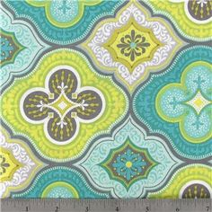 1 Yard Turquoise and Lime Moroccan Cotton Fabric for Quilting, Sewing and Crafts. $7.95, via Etsy.
