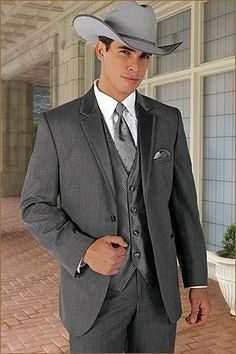 Browse tuxedo rentals and choose a western tuxedo for your western wedding. Many styles can be found in our Western Collection. White Tuxedo Wedding, Groom Tuxedo Wedding, Grey Tuxedo, Tuxedo Suit, Tuxedo Jacket, Wedding Men, Wedding Suits, Wedding Ideas, Wedding Tuxedos