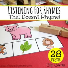 Listening for Rhymes - 28 FREE Clip Cards - This Reading Mama Small Group Activity Rhyming Activities, Kindergarten Literacy, Preschool Learning, Preschool Worksheets, Literacy Stations, Literacy Centers, Literacy Skills, Phonological Awareness Activities, Small Group Activities