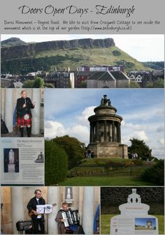 We visited the Burns Monument on Regent Road during Doors Open Days in 2012 and found local Burns Society members reciting poems and stories and singing songs written by Robert Burns.  There was also an exhibition about different places in Edinburgh which had associations with Robert Burns.  Guests at Craigwell Cottage can find the Burns Monument at the top of the garden! (http://www.2edinburgh.co.uk)