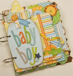 Adorable mini album created with Bella Blvd. Baby Boy collection. www.paisleysandpolkadots.com #minialbums #BellaBlvd #babyboy