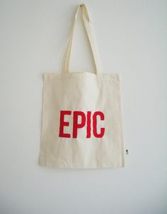 Tote deep pink silk screened print 'EPIC'. Eco tote. Eco cotton bag. on Etsy, 7,00€