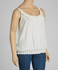 Take a look at this Ivory Lace Crocheted Tank - Plus by Simply Irresistible on #zulily today!
