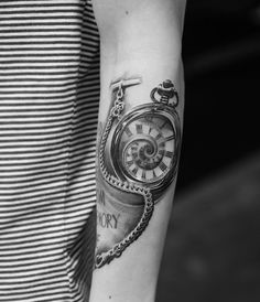 Pocket watch sleeve tattoo. The watch is always there to remind us of how much time we've spent and how much time we have left. It's a reminder and at the same time a warning which makes it endless and in irony, timeless.