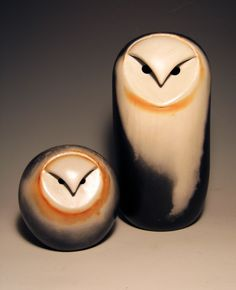 """Owls"". Ceramic Sculpture. Created by Chris Stiles These Owls are made from clay and colored using a process called saggar firing. This firing process creates a truly unique coloring effect which leaves no two owls exactly a like."