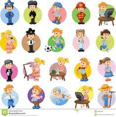 Personajes De Dibujos Animados De Diversas Profesiones Ilustración del Vector…
