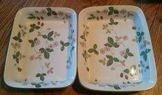 "Wedgwood Wild Strawberry Rectangular Bakeware Pans, 1- 10½"" x 8¼"", 1- 10"" x 8"". $52.24/Set of 2 at goldentreasures4you on ebay, 5/14/16"