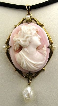 Cameo - Elegant Lady carved in Palest Pink