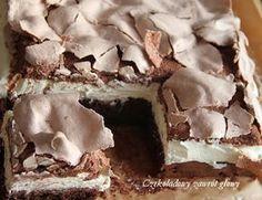 Chocolate cake with mascarpone cream and meringue Polish Desserts, Polish Recipes, Sweet Recipes, Cake Recipes, Dessert Recipes, Sweets Cake, Mousse, Cake Cookies, Baked Goods