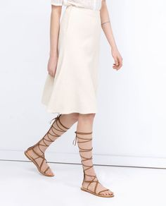 ZARA - WOMAN - LEATHER GLADIATOR SANDALS