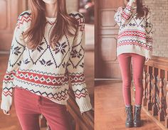 Christmas sweater, red skinny jeans, combat boots