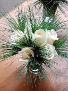 White roses and evergreens