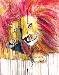 Twin Lions Art print 16x20 by JulieRavenArt on Etsy, $25.00