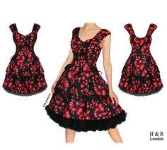 Vintage style 'Bleeding Roses' swing dress. Corset side ties, tulle hem