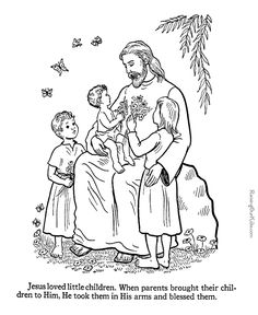 Jesus blesses the children coloring page to print. | from raisingourkids.com #kidmin #Jesus