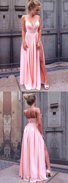 Pink Prom Dresses, Long Prom Dresses With Slit, Formal Prom Dresses for Teens, A-line Formal Dresses V-neck #pinkdress
