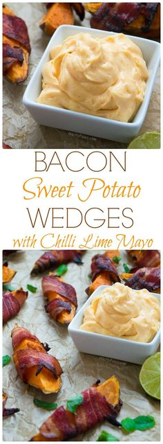 Bacon Wrapped Spicy Sweet Potato Wedges with Chilli Lime Mayo from http://WhittyPaleo.com