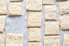 Make your own Saltine Crackers from scratch at home!1 1/2 cups cake flour  6 tablespoons water  2 tablespoons softened butter  2 tablespoons vegetable oil  2 teaspoons instant yeast  1 teaspoon sugar  1/4 teaspoon baking soda  1/4 teaspoon cream of tater  1/2- 1 teaspoon Sea Salt or Herb Salts for topping