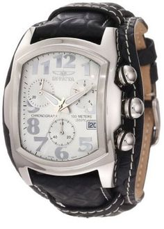 Invicta Men's 11324 Lupah Chronograph Silver Tone Dial Black Leather Watch - croton watches, titanium watches, online shopping watches for mens *ad