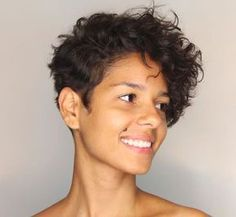 17 Photos That Prove Pixie Cuts Look Incredible With Curly Hair. Curly pixie cuts are the way, the truth, and the life. Short Curly Pixie, Curly Pixie Hairstyles, Curly Hair Styles, Haircuts For Curly Hair, Haircut For Thick Hair, Curly Hair Cuts, Short Hair Cuts, Wavy Pixie Haircut, Thin Hair