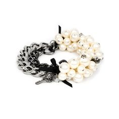 Betsey Johnson Half Pearl Half Chain Bracelet from LittleBlackBag.com