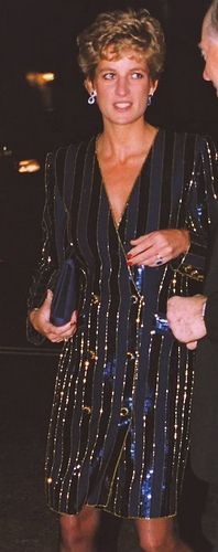 Princess Diana Wearing A Sparkly Evening Dress.