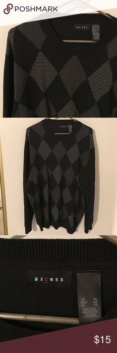 MENS Argyle Crewneck sweater Dressy sweater I'm excellent used condition Axcess Sweaters Crewneck