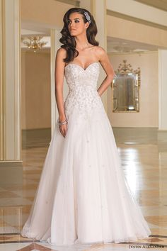 justin alexander bridal fall 2016 strapless sweetheart aline wedding dress (8869) mv