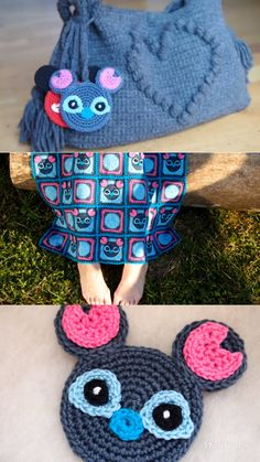Stitch Mouse Free crochet pattern Do you like Lilo and Stitch? I want to share Stitch pattern with you today! I wear him on my Chain Stitch, Slip Stitch, Double Crochet, Single Crochet, Lilo Ve Stitch, Crochet Toys, Free Crochet, Crochet Beanie, Stitch Patterns
