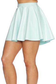 Mint Pastel PVC Skater Skirt - LIMITED