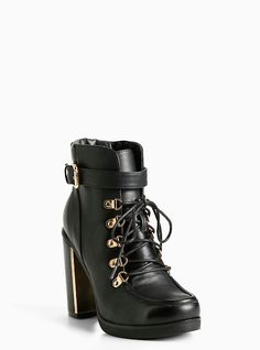 eb9a79b358b6 Lace Up Combat Metal Heel Boots (Wide Width)