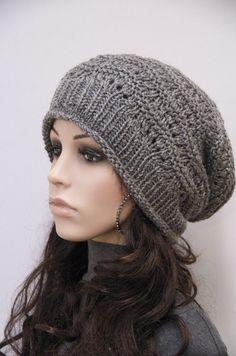 Knit hat - Charcoal Chunky Wool Hat, slouchy hat,wool hat, weaving pattern